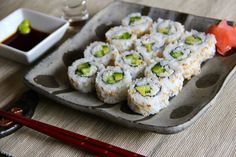 Cork & Clay - Fairy Houses - Destination Mansfield California Rolls, California Roll Recipes, Cooked Sushi Rolls, Menu Sushi, Inside Out Sushi, Sushi Ingredients, Good Food, Yummy Food, Delicious Recipes