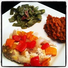 Chicken  Peppers with Green Beans and Sweet Potato Mash from Mealfit.co