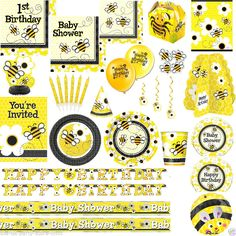 BUSY BEE Birthday Party Or Baby Shower Supplies Tableware Decorations