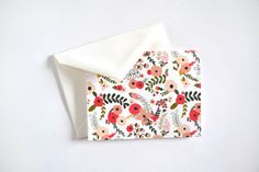 8 Folded Cards with Blank Interiors: 5.5 inches wide and 4.25 inches tall | Envelopes Included    Cover your notes in bright blooms with this