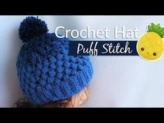 Gradient hat with puff stitch - Crochet / Gorrito en punto piña - YouTube
