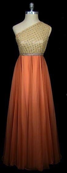 Evening Dress, 1965, made of chiffon, beaded bodice. Designer unknown.