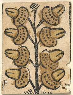 8 of Acorns  Date:ca. 1480–1520 Geography:Made in Basel, Upper Rhineland, present-day Switzerland Culture:German Medium:Woodcut on paper with coloring Dimensions:approx.: 2 1/4 × 1 5/8 in. (5.7 × 4.2 cm)