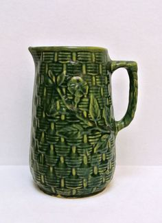 Early Brush McCoy Antique Vintage Green Stoneware Pitcher Morning Glory Basket Weave Pattern Yellow Ware Pottery Victorian Water Pitcher