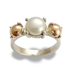 Sterling Silver and Rose Gold Engagement Ring With a pearl