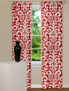 Modern Curtains With Large Ikat Style Print on Red Background