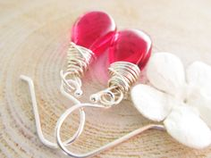 Passion Fruit Earrings Pink Stone Hot Pink by thelittlehappygoose, $25.00