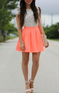 Love this coral skating skirt and lace top!  Women's street style fashion