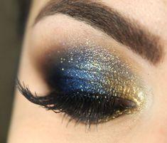 Idea truo occhi da sera con ombretto dorato e blu