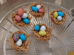 Easy Easter treat to make - just like rice krispy treats, but using chow mein noodles instead.  Press mixture into muffin tin and refrigerate for 2 hours, then pop out and fill with candy eggs.