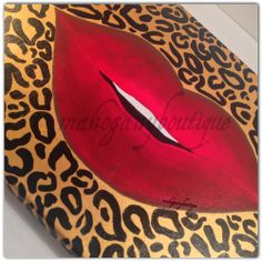"""This hand painted original will add an adorable touch to your space. It also makes a great gift for lovers of make-up, """"Luscious Lips, and/or leopard print.  TITLE: Luscious Lips CANVAS DIMENSIONS: 12"""" x 16"""" MATERIAL: Acrylic paint COLORS: Black, Gold, Red, Brown  Please allow 2 - 3 weeks ... Diy Canvas Art, Canvas Crafts, Diy Wall Art, Canvas Ideas, Girl Cave, Different Kinds Of Art, Gold Lips, Red Bedding, Paint And Sip"""