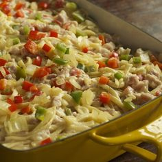 Clause's Casserole Recipe: Ham & Linguine Casserole, Mother of All Casseroles. I'm thinking veggie dog for the ham, vegan cheese & parm w/ lots of tasty nutritional yeast ! Maybe come bread crumbs on top. Ham Casserole, Chicken Casserole, Casserole Dishes, Casserole Recipes, Italian Casserole, Cabbage Casserole, Chicken Soup, Pork Recipes, New Recipes