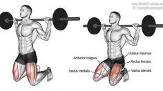 Barbell kneeling squat exercise
