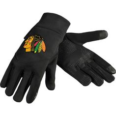 Forever Collectibles Chicago Blackhawks Texting Black Gloves, Team