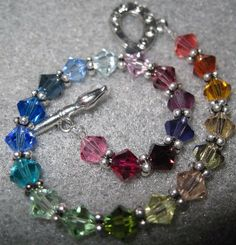Rainbow Swarovski Bracelet TWENTY THREE COLORS by BeadingMommy, $25.00