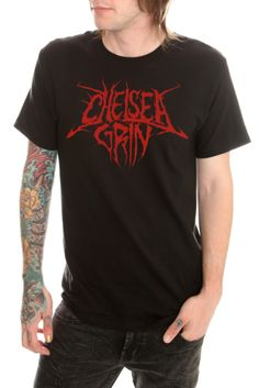 This black T-shirt features a red front screen of the Chelsea Grin band logo.