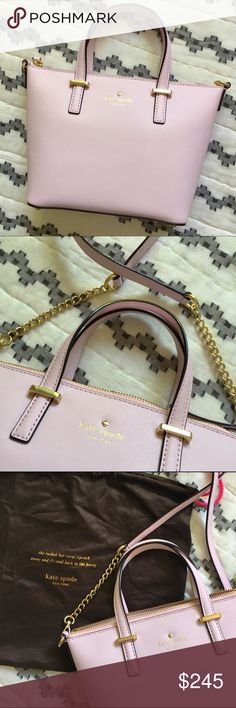 """kate spade Harmony Bag - BNWT (WILL SHIP NEXT BUSINESS DAY) Beautiful blush pink mini convertible cross-body bag by kate spade. Saffiano leather with gilded hardware and metal-footed bottom, logo on the front. Complete zip closure, removable crossbody strap, has an interior zip pocket, interior wall pocket, and smartphone pocket. Inside is lined with logo-jacquard. Dimensions: 7.25"""" H x 8.25"""" W, Crossbody strap: 22.5"""". Brand new with tags, comes with dust bag! kate spade Bags"""