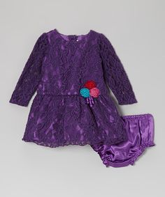 Take a look at this Youngland Purple Lace Dress - Infant, Toddler & Girls on zulily today!