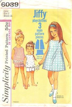 SIMPLICITY 6039 - FROM 1965 - UNCUT - CHILDS JIFFY DRESS OR TOP AND SHORTS