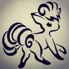 Pokemon Vulpix tribal art.