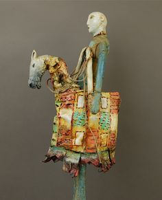 Terry Turrell Horseman carved wood, cloth, string, wire, oil and enamel