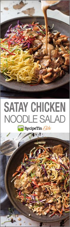 Satay Chicken Noodle Salad – Satay Chicken tossed with noodles veggies and a scrumptious creamy peanut dressing![EXTRACT]Satay Chicken Noodle Salad – Satay Chicken tossed with noodles veggies and a scrumptious creamy peanut dressing! Chicken Noodle Salad Recipe, Chicken Recipes, Thai Noodle Salad, Salad Chicken, Chicken Rice Noodles, Ramen Noodle Salad, Vietnamese Noodle, Ramen Noodles, Lactuca Sativa