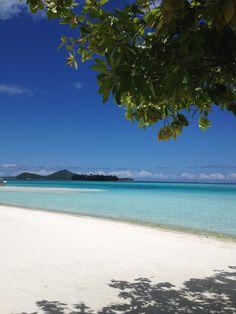 White sand beach point in Bora Bora