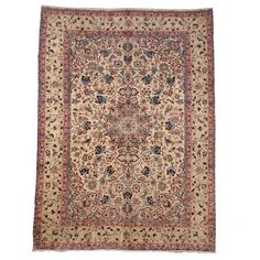 Herat Oriental Semi-antique 1960's Persian Hand-knotted Isfahan Ivory/ Navy Wool Rug (9'2 x 12'4) - Overstock™ Shopping - Great Deals on Herat Oriental 7x9 - 10x14 Rugs