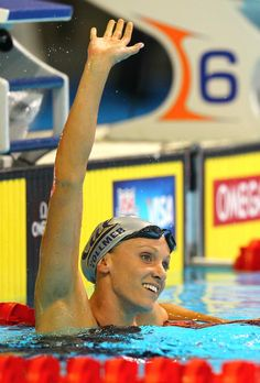 Dana Vollmer was under world record pace at the 50 meter mark of the women's 100 butterfly semifinal. Vollmer finished in American record time at 56.42.
