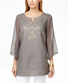Jm Collection Petite Embellished Kurta Tunic Top, Only at Macy's