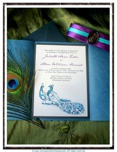 Peacock Wedding Invitations in Purples and by PeacockInvitations, $6.65