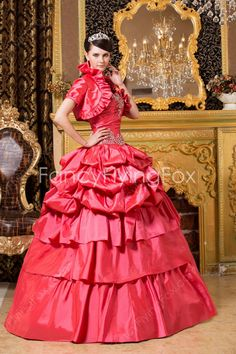 6a02fac5ae8 Sweetheart Ball Gown Floor Length Water Melon Quinceanera Dresses With High  Neckline Bolero