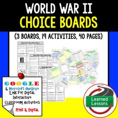 World War II Activity Choice Boards (Print and Google Versions) THIS IS ALSO PART OF SEVERAL BUNDLES THIS IS ALSO PART OF A MEGA BUNDLE TO SAVE $$$And an American History CHOICE BOARD BUNDLE TO SAVE $$$WWII BUNDLE VISIT MY STORE AND FOLLOW TO GET UPDATES WHEN NEW RESOURCES ARE ADDED Includes: 3 choice Boards (Print, Google Drive, and One Drive) 19 activities40 pages of templates and resources to use as needed (All pages are Black/White and Color)This is an full WWII overview choice board…
