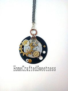 Black Circlet Steampunk Necklace by HomeCraftedSweetness on Etsy, $60.00