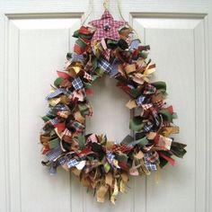 Christmas Wreath, Holiday Wreath, Ribbon Wreath Fabric Wreath for Front Door Christmas Decor, Homespun Christmas Tree.