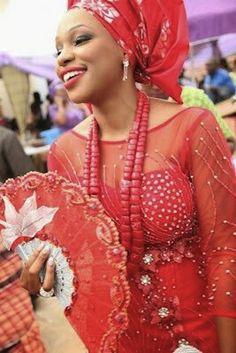 Igbo bride...Lady in red...very beautiful