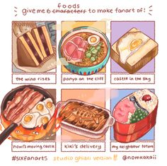 Studio Ghibli Sixfanarts challenge Nomkakaii - イラスト ART street (アートストリート) Studio Ghibli Films, Studio Ghibli Art, Recipe Drawing, Cute Food Drawings, Food Illustrations, Aesthetic Food, Japanese Food, Food Art, Food And Drink