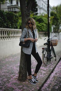 Emma Hill wears check Zara blazer, black t-shirt, black stepped hem skinny jeans, Vans Old Skool trainers, Gucci GG marmot bag, casual outfit ideas
