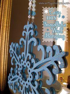 Easy, DIY Snowflake Wall Hanging - artsychicksrule.com #holidays #Christmas #holidaydecor #diy #holidaycrafts