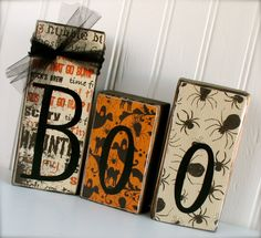 Double Sided Boo / Joy 3 Block Halloween / by doubledutydecor, $15.95