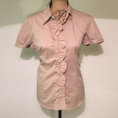 New York and company stretch khaki shirt size L New York and company stretch shirt with ruffle detail down the front. Can be dressed up or dressed down. Smoke/pet free home New York & Company Tops Blouses