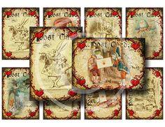 Alice In Wonderland Valentines  Digital Collage by EphemerasGarden, $4.00