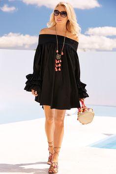 Women's Black Off-The-Shoulder Smocked Sleeve Dress by Boston Proper.