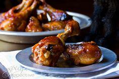 Sweet and Spicy Baked Chicken Drumsticks   ASpicyPerspective.com #Drumsticks #Recipe #Chicken
