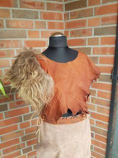 Mittelalter Leder Fantasie Larp Lederoberteil bustier Fell Island kragen 6