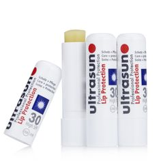 206204 - Ultrasun Sun Protection Lip SPF30 Trio QVC Price: £12.00 + P&P: £2.95  This set contains three lip balm sticks with SPF30, which can be applied to ease dry lips and protect from UV rays throughout the day. Never be without a lip balm again with this set of three from Ultrasun. Can be applied once a day (reapply in extreme circumstances) All-day protection against UVA and UVB rays (up to eight hours) Suitable for all skin types Free from oils, emulsifiers and perfumes Can be used for…