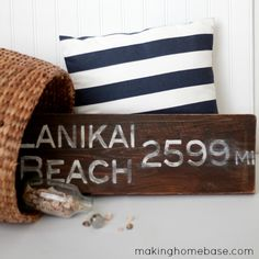 Salvaged Wood Beach Sign