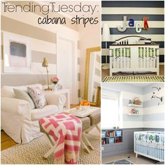 Cabana Striped Walls  - How to paint horizontal stripes to give your room a pop of color