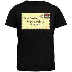 Dear Santa Please Define Naughty Black Youth T-Shirt