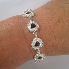 Silver heart bracelet Hearts with black stones. Sterling silver stamped 925. New! Jewelry Bracelets